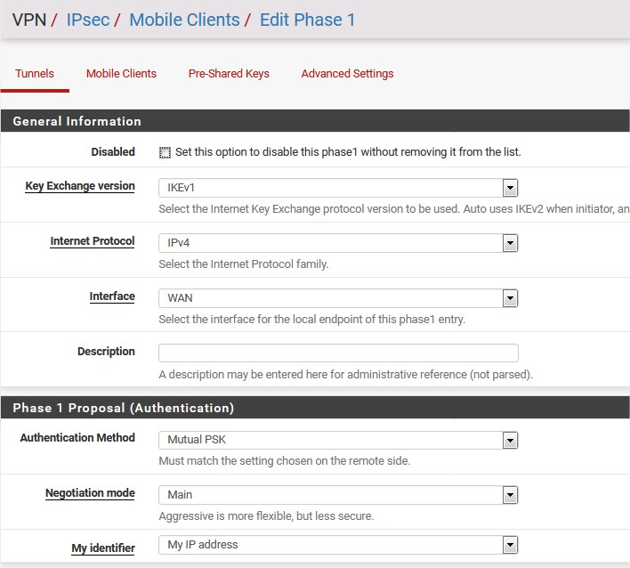 pfsense ipsec mobile clients edit phase1 1